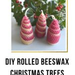 picture of beeswax christmas trees made with rolled sheets of wax