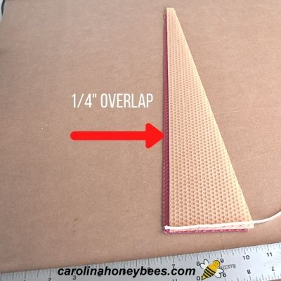image of 2 color sheets with 1/4 inch overlap for candle