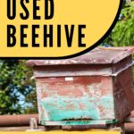 Old beehive and used beekeeping equipment image.