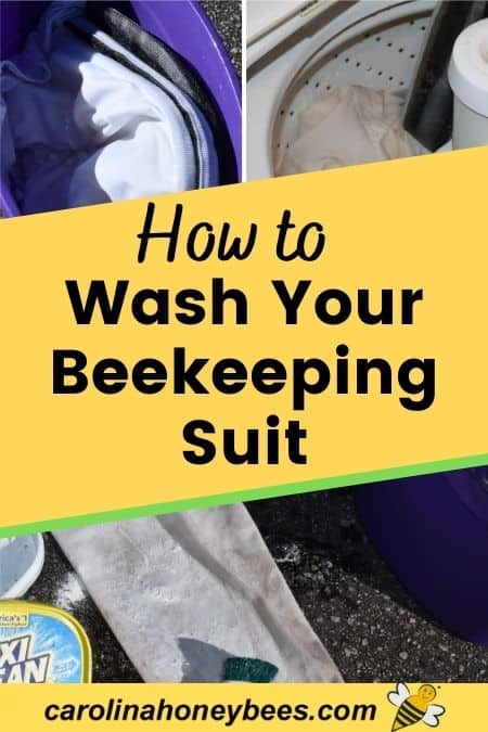 Image of dirty beekeeper suit, how to wash your beekeeping suit.