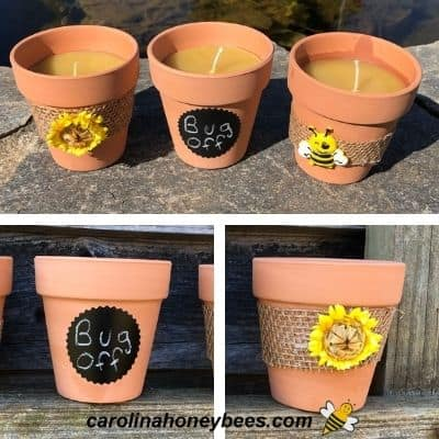 Different images of beeswax candle pots decorated image.