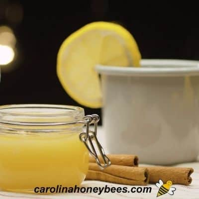 Honey in a jar, cinnamon sticks and lemon in a cup image.