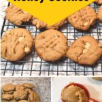 Images of peanut butter honey cookies recipe instructions.