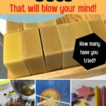 Block of beeswax and beeswax craft uses image.