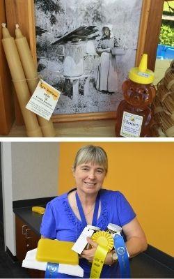 Beekeeping display and beekeeper with awards image.