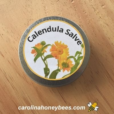 Bright label for tin of homemade calendula salve image.
