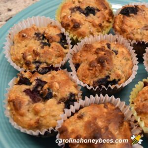 Baked honey blueberry muffins with oatmeal snacks image.
