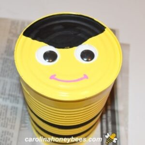 Bottom of can bee face with google eyes image.