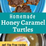 Honey caramel in pot and finished honey turtles on plate image.