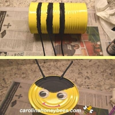 Paracord legs and antenna glued on tin can bee craft image.