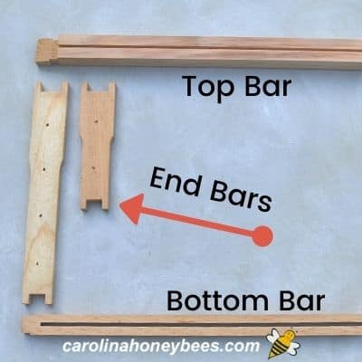 Parts of beehive frame top bar end bar and bottom bar parts image.