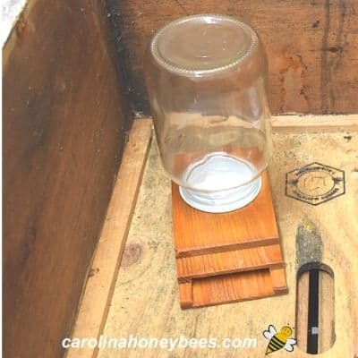 Boardman bee feeder for sugar water inside beehive image.