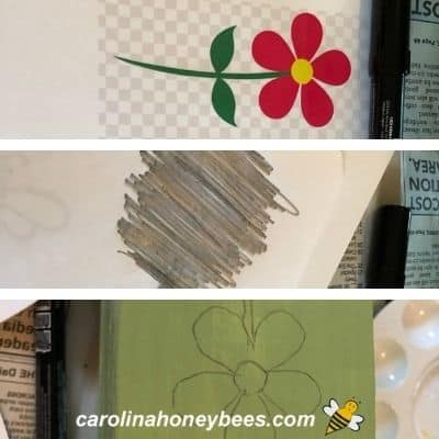 Flower image traced on wooden pole for garden image.