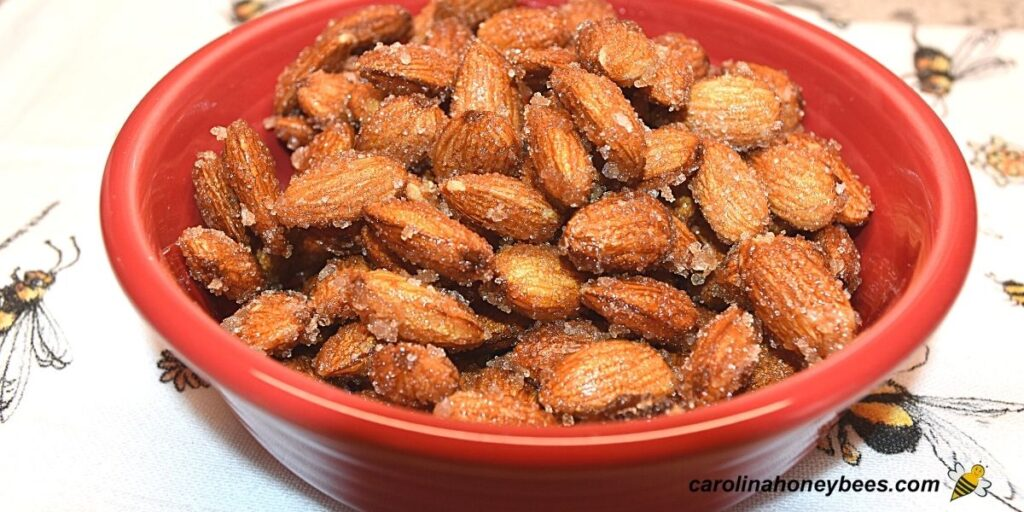 Fresh honey roasted almonds in a red bowl image.