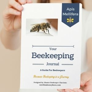 Lady holding copy of Your Beekeeping Journal image.