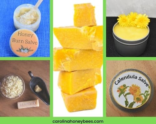 Various health and beauty uses for beeswax burn sale and calendula salve image.