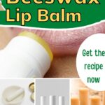 Beeswax lip balm being applied to lips and in tubes get recipe image.