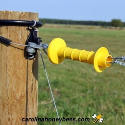 Plastic electric fence gate to allow access to beehives image.