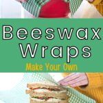 Homemade beeswax food wraps in use image.