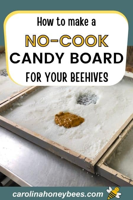 Homemade no cook candy board to feed beehive image.