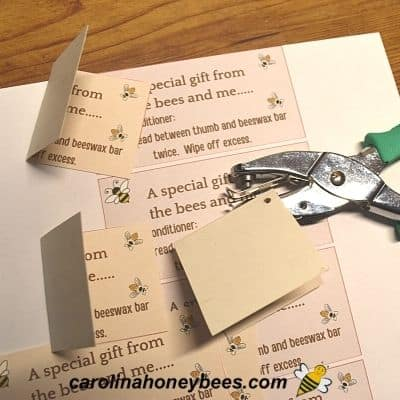 Folded gift tag and hole punch for gift bag label image.
