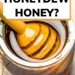 Honeydew honey in jar with wooden dipper image.