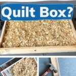 Pine shavings in a wooden hive moisture box, do your bees need a quilt box image.