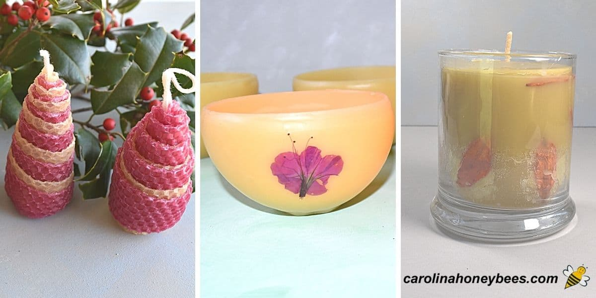 beeswax candle gift ideas tree bowl and glass image.