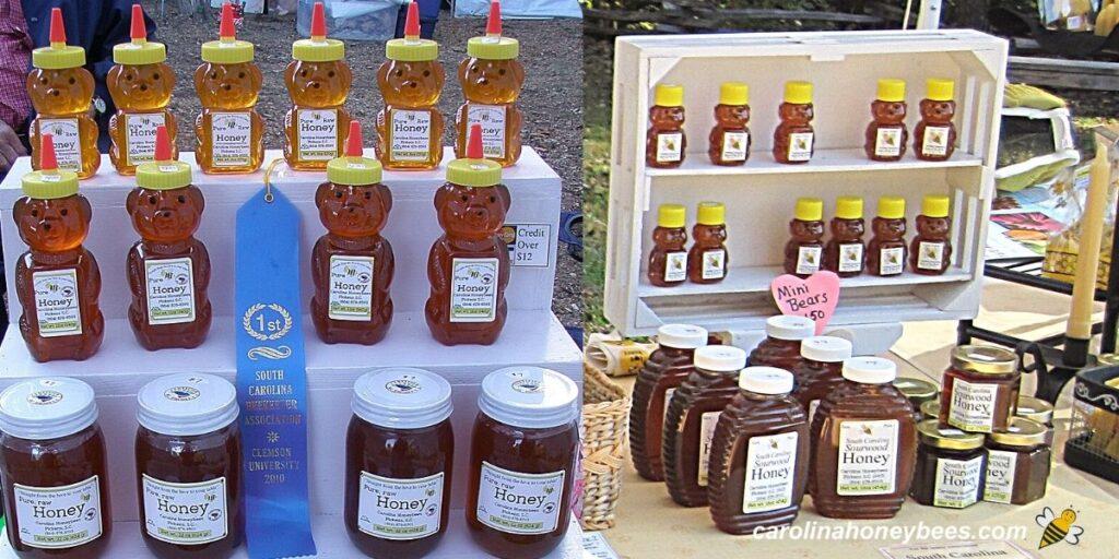 Various honey jars displayed for sale at market image.