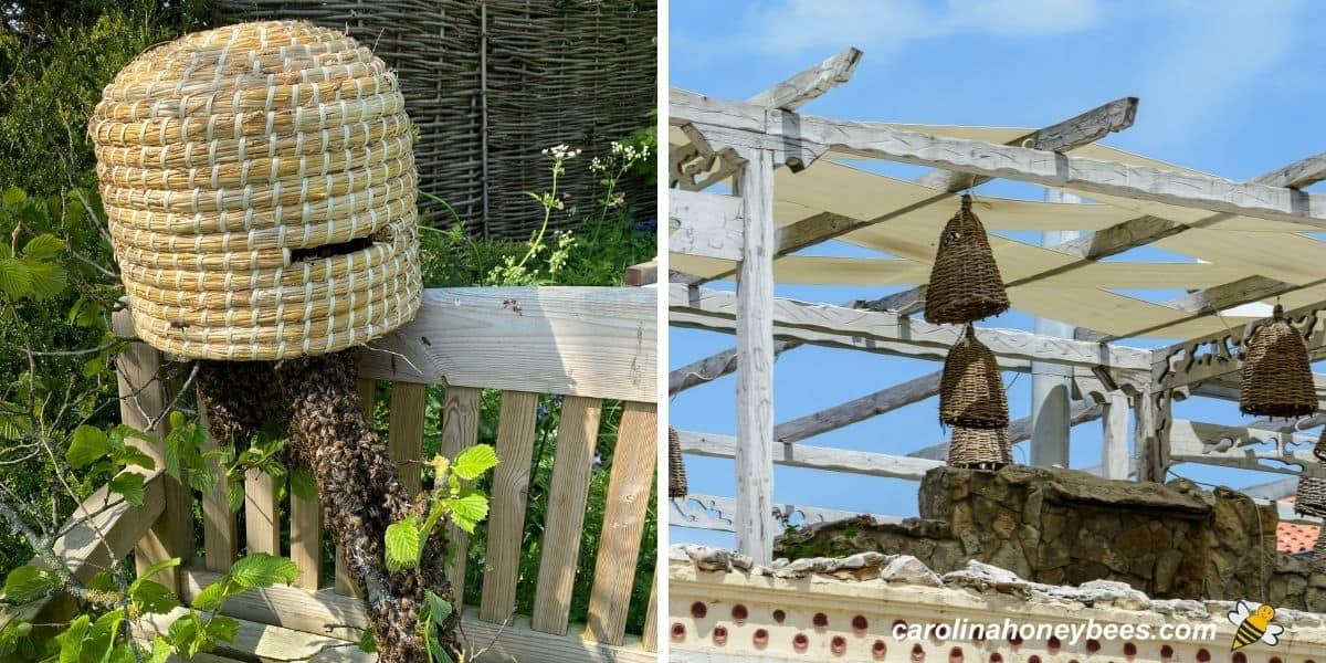 Straw honey bee hive skeps in gardens image.
