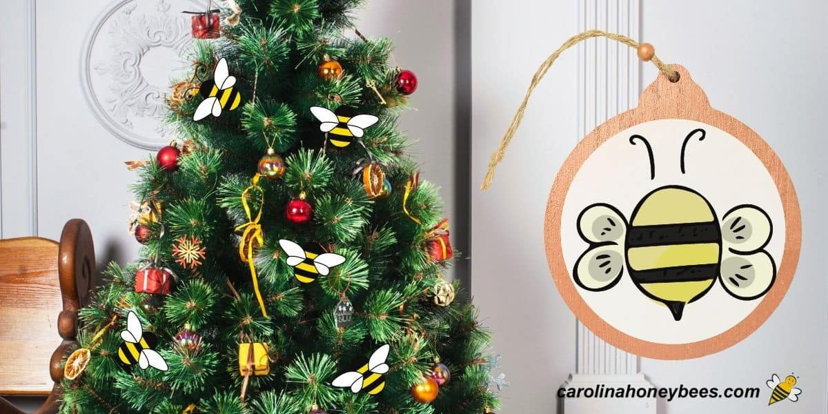 Holiday christmas tree with bee themed ornaments image.