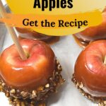 Honey caramel apples with pecans on a pan recipe image.