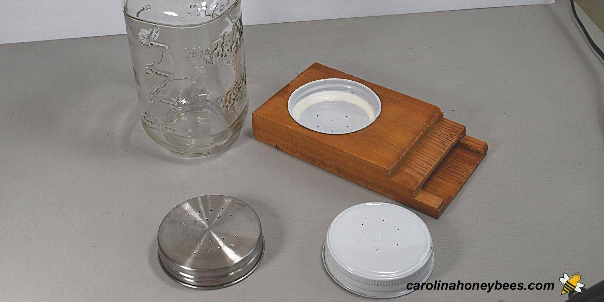 Materials to make a diy bee feeder with a jar image.