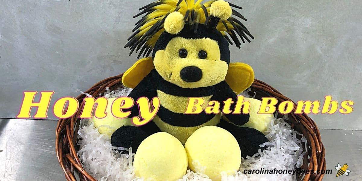Cute bee bear with honey bath bombs in basket image.