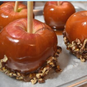 Pan of honey caramel apples with nuts image.