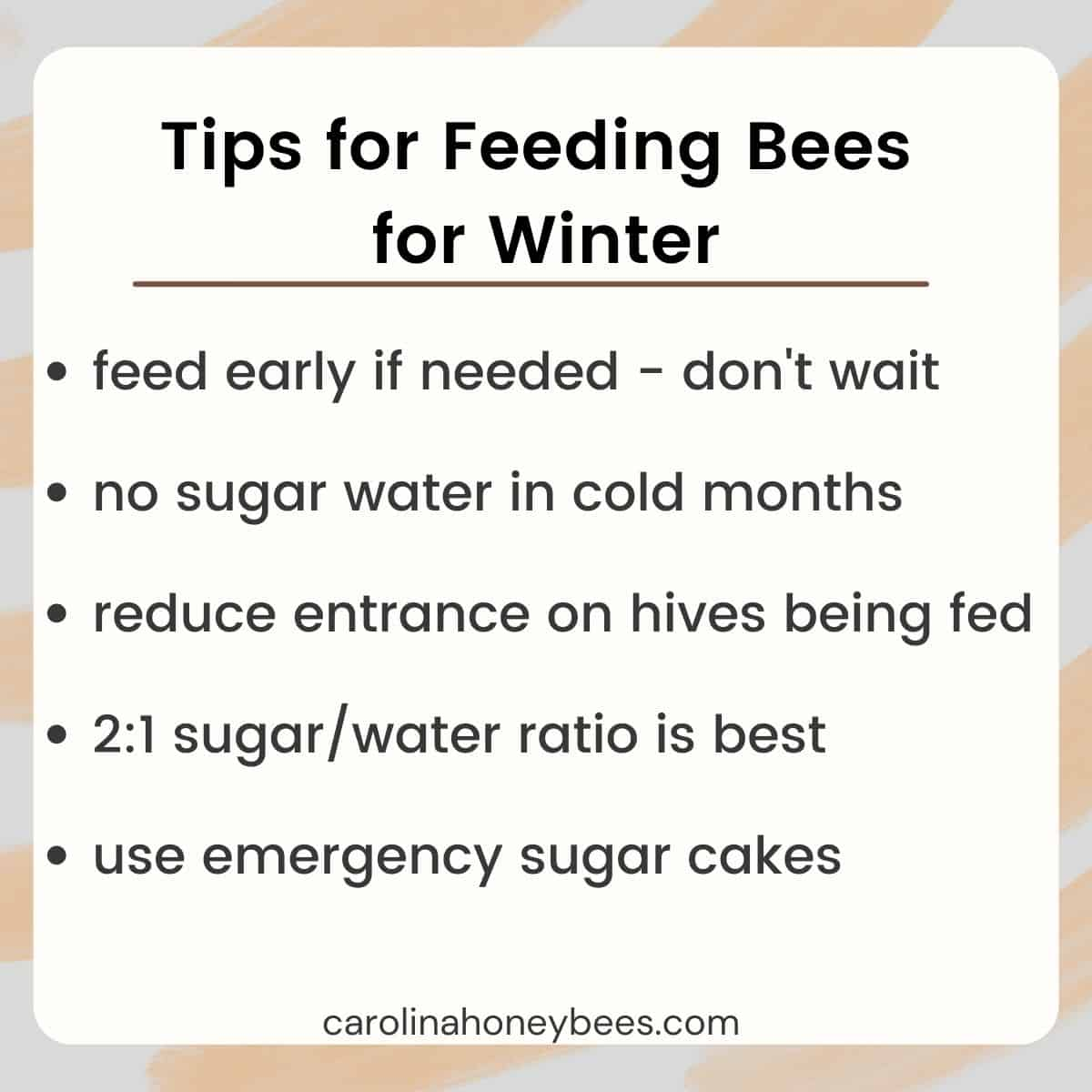 Diagram tips for feeding bees for winter image.