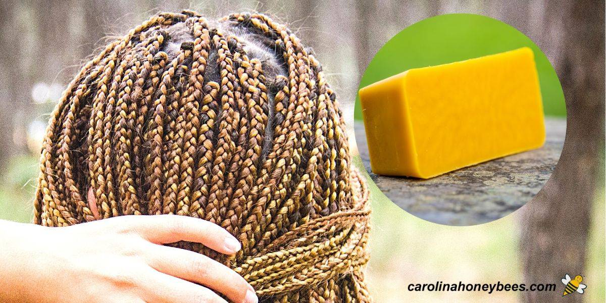 Woman with braided hair and block of beeswax for hair care image.