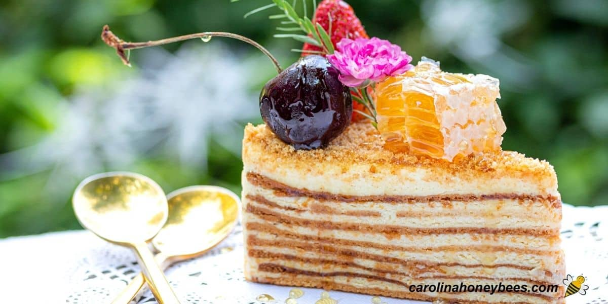 Small pieces of honeycomb with cake and fruit image.